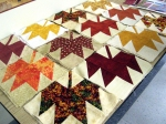 The finished squares from the Maple Leaf Block exchange.
