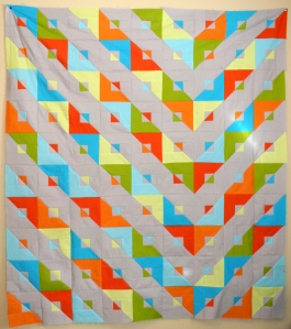 Jennifer T-Z's modern quilt take on the transformer pattern, created at Ken Grantham's January workshop