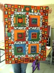 Jean's Halloween quilt with spider attached.