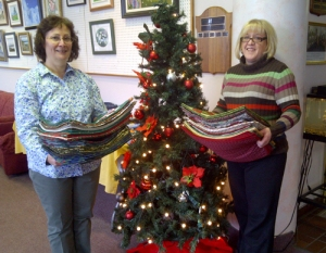 Placemats delivered: Laurie (l) of Meals on Wheels Dartmouth and Tanya from the Dartmouth Senior Centre.